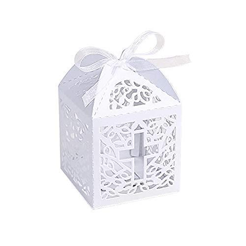 KAZIPA 50PCS Baptism Favor Boxes, 2.2x2.2x2.2Laser Cut Favor Boxes with 50 Ribbons for Baby Shower Favors Baptism Decorations First Birthday Party