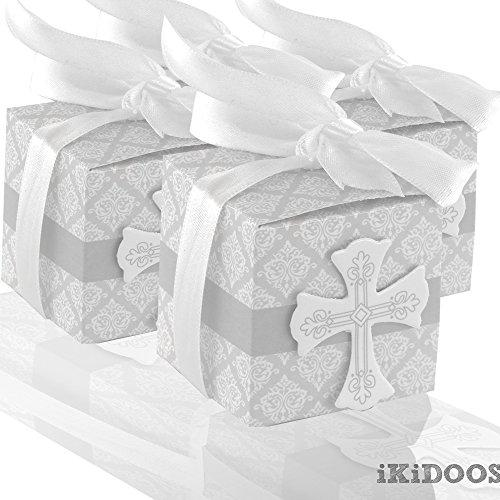 iKidoos® Party Candy Boxes for Baptism 50pcs First Communion Favor Cross Candy Box Christening Baby Shower bomboniere wrap Holders with Ribbons