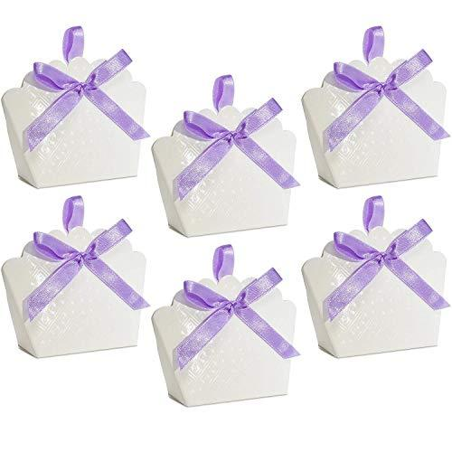 50 Scalloped White Favor Bag Boxes Craft Kit with Diamond Pattern for Guest Candy Goodie Treat Bags Party Supplies Decorations Wedding Reception Birthday Celebration Baby & Bridal Shower