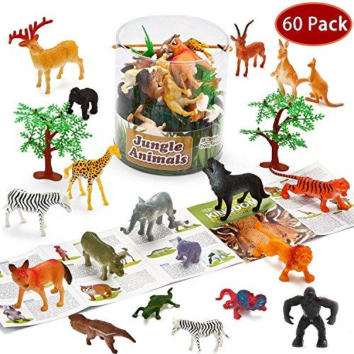 Joyin Toy 60 Pieces Safari Jungle Animal Figures Toddler Toy Set Realistic Wild Plastic Animal Playset - Animal Encyclopedia Included (2.5 to 5.5 Inches)