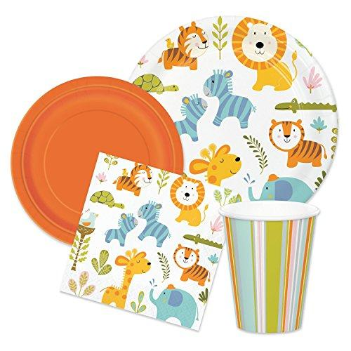 Wild Safari Animal Baby Shower Party Supplies - Tableware for 16