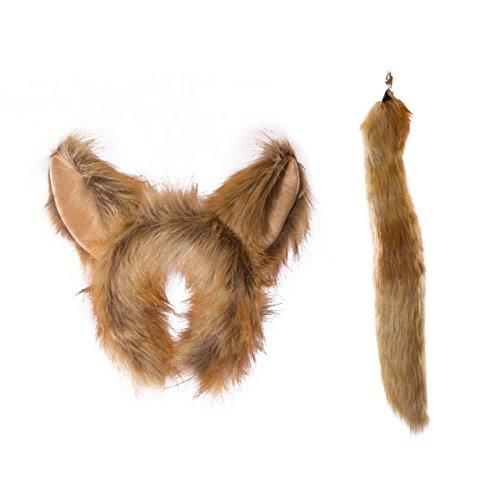 Wildlife Tree Plush Fennec Fox Ears Headband and Tail Set for Fennec Fox Costume, Cosplay, Pretend Animal Play or Safari Party Costumes