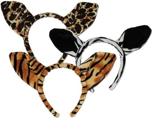 Soft-Touch Animal Print Ears (asstd leopard, tiger, zebra) Party Accessory (1 count) (1/Pkg)