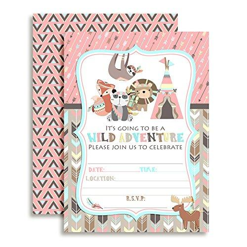 Wild Adventure Tribal Boho Girl Birthday Party Fill In Invitations set of 10