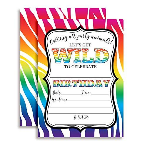 "Rainbow Zebra Print Wild Birthday Party Invitations, Ten 5""x7"" Fill In Cards with 10 White Envelopes by AmandaCreation Perfect for Teen and Tween Birthdays, Even Adults!"