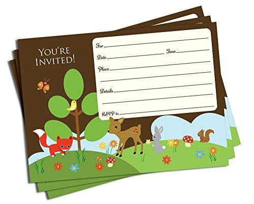 50 Trendy Woodland Forest Friends Invitations and Envelopes (Large Size 5x7) - Baby Shower - Birthday Party - Any Occasion - Fox Rabbit, Deer, Squirrel, Owl, Forest