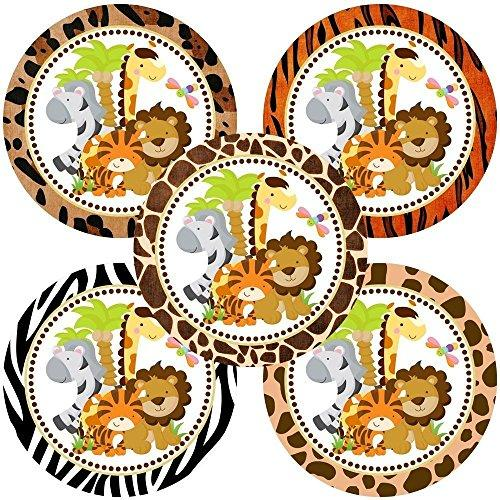 Jungle Safari Animals Sticker Labels - Boy Girl Party Birthday Baby Shower Favor Labels - Set of 50