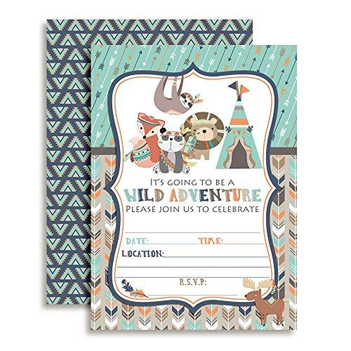 Wild Adventure Tribal Boho Boy Birthday Party Fill In Invitations set of 10