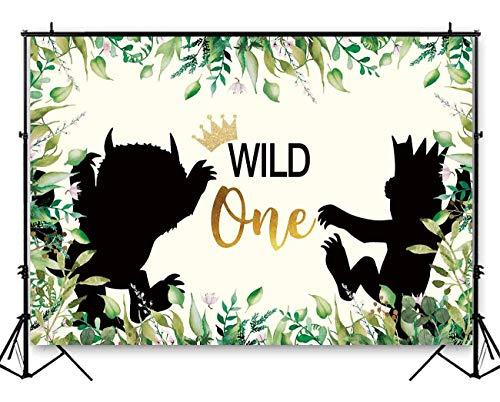 Funnytree 7X5ft Wild One 1st Birthday Party Backdrop Animals Themed Photography Background Jungle Safari Baby Boy Photo Booth Banner Decorations