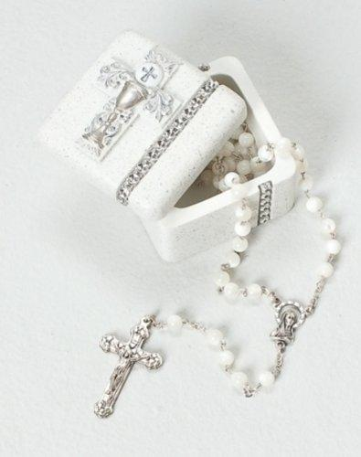 Roman First Holy Communion Silver Chalice Resin Stone Keepsake Rosary Jewlery Box, Ivory, 1.5""