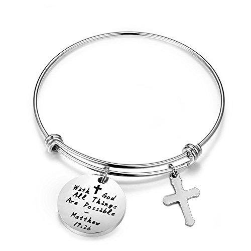 WUSUANED With God All Things are Possible Cross Charms Bracelet Religious Jewelry Inspirational Gift (with god cross bracelet)