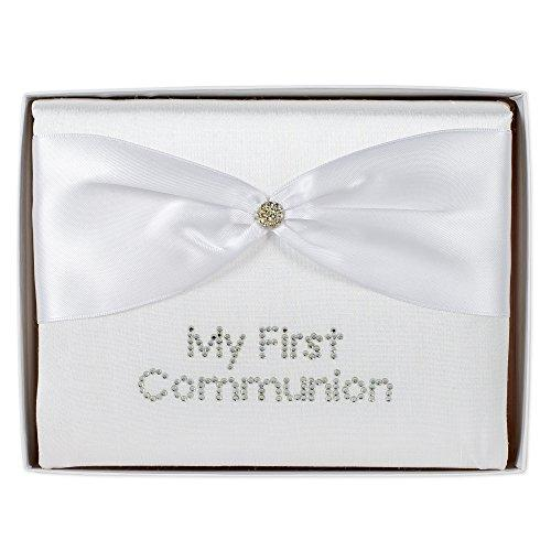 "White Silk ""My First Communion"" Photo Album With Crystal Button"
