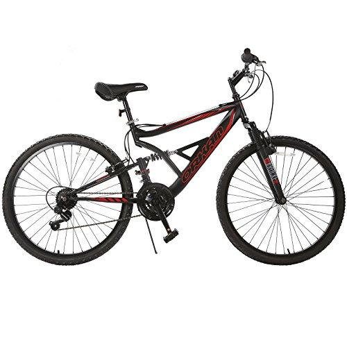 Murtisol Mountain Bike 26 Mens and Womens Bike Fast Speed Hybrid Bike 18 Speed Commuter Bike Front/Full Suspension Shimano Derailleur Bicycle,Black Red