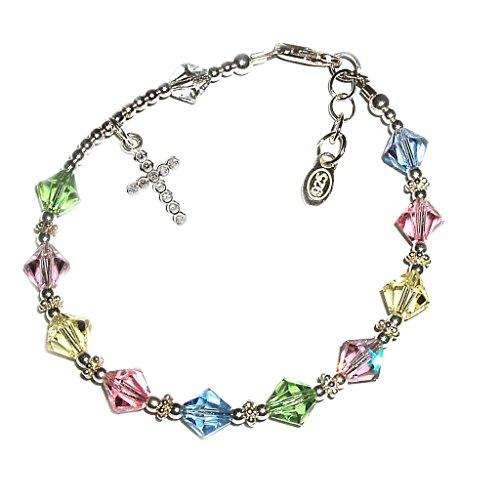 "Childrens Sterling Silver First Communion Rosary Bracelet with Swarovski Crystals and CZ Cross (6-6.5"")"