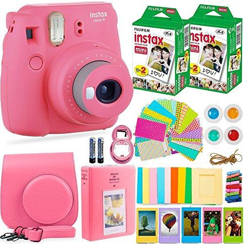FujiFilm Instax Mini 9 Instant Camera + Fuji Instax Film (40 Sheets) + Accessories Bundle - Carrying Case, Color Filters, Photo Album, Stickers, Selfie Lens + More (Flamingo Pink)