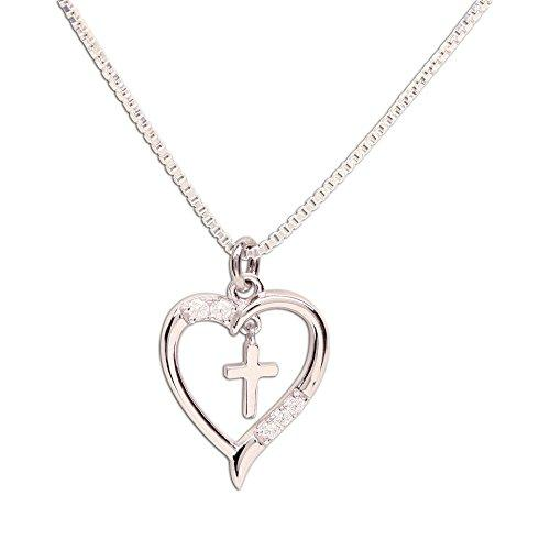 "Girls Sterling Silver First Communion ""Dancing Cross"" Heart Necklace"