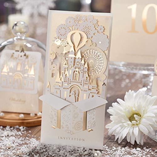 Wishmade 50x Laser Cut 3D Gold Gilding Wedding Invitations Cards with Bride and Groom in Castle Cardstock for Engagement Bridal Shower(set of 50pcs)CW5093