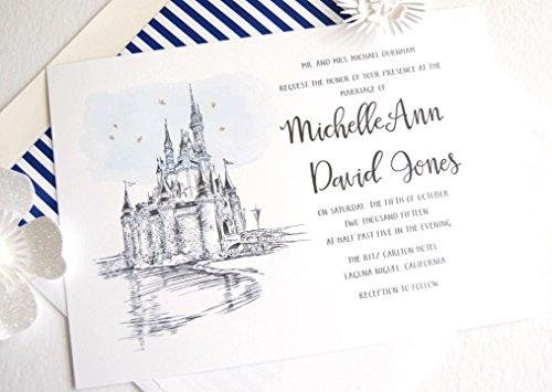 Fairytale Wedding, Disney World Castle Inspired Invitations Package (Sold in sets of 10 Invitations, RSVP Cards and Envelopes)