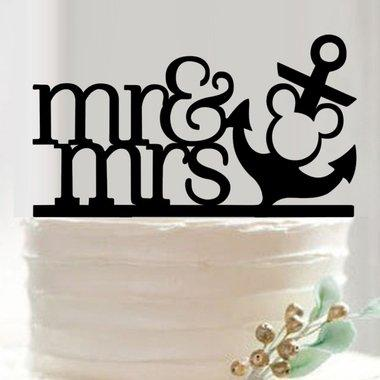 Mr and Mrs Nautical and Anchor Mickey Mouse Disney Wedding Cake Topper from Bakell