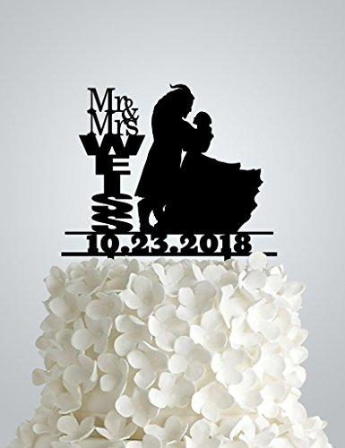 AWAC33 - Acrylic Wedding cake Topper inspired by Beauty and the Beast