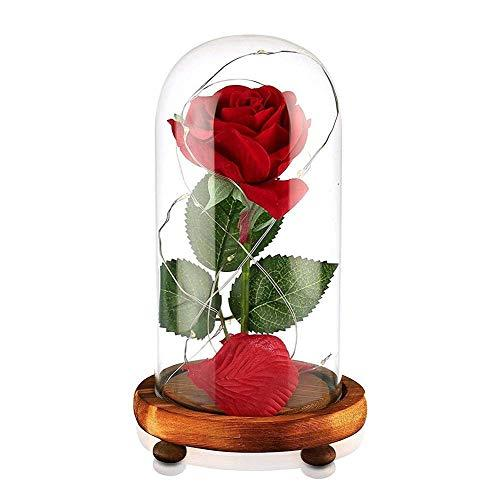 Beauty and The Beast Rose Red Silk Rose in Glass Dome with Fallen Petals & LED Light on Wooden Base Preserved Flowers Gift for Valentines Day Party Wedding Anniversary Birthday Gift Card Inside