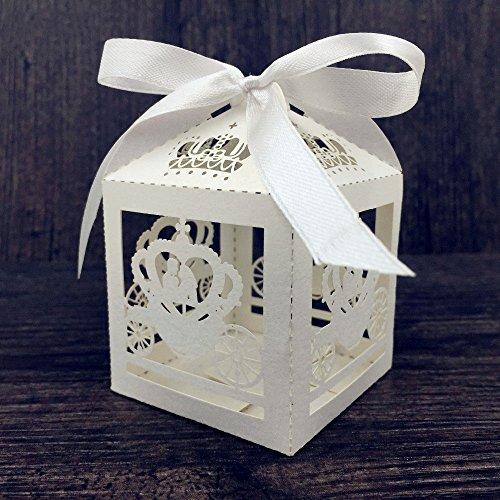 Saitec 50pcs Laser Cut Cinderella Enchanted Carriage Marriage Box,pumpkin carriage Wedding Favor Boxes Gift box Candy box(white ribbon)