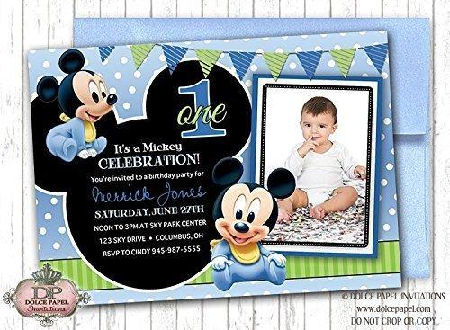 10 Disney Prince BABY MICKEY MOUSE Inspired Black and Blue Polka Dot First Birthday Party Invitations