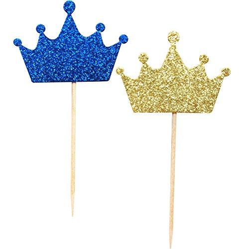36-Pack Blue and Gold Crown Cupcake Toppers Picks, Royal Prince Cupcake Toppers for Birthday Baby Shower Wedding Party Decorations Supplies
