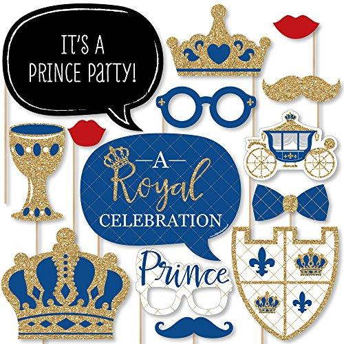 Big Dot of Happiness Royal Prince Charming - Baby Shower or Birthday Party Photo Booth Props Kit - 20 Count