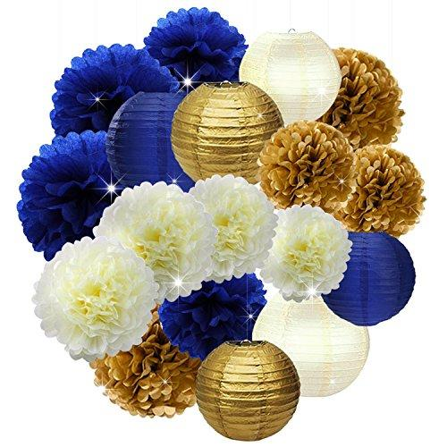 18PCs Navy Blue Gold Cream 10inch 12inch Tissue Paper Pom Pom Paper Flowers Honeycomb Paper Lanterns for Navy Blue Themed Party Decoration Bridal Shower Decor Baby Shower Royal Prince Party Supplies