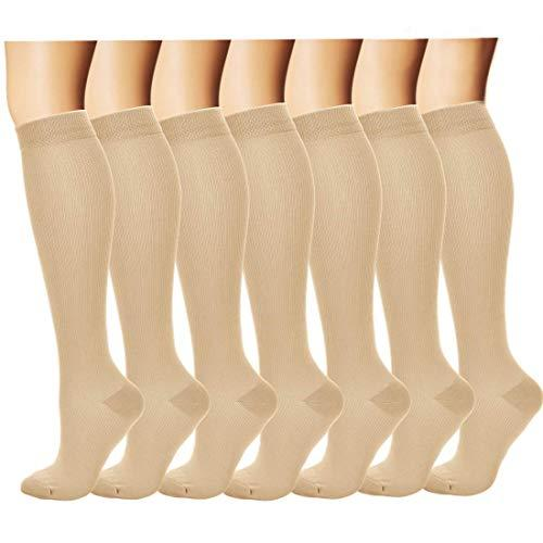 7 Pairs Compression Socks For Women and Men - Best Medical, Nursing, for Running, Athletic, Edema, Diabetic, Varicose Veins, Travel, Pregnancy & Maternity - 15-20mmHg, Small / Medium, Nude