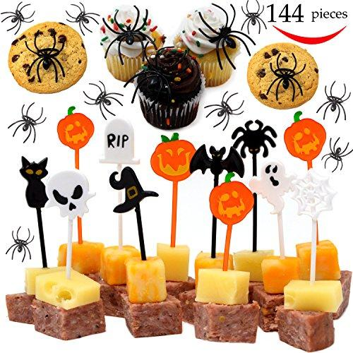 JOYIN 144 Pieces Spider Ring Cupcake Toppers and Halloween Appetizer Picks for Halloween Party Supplies Halloween Party Cupcake Decorations Halloween Food