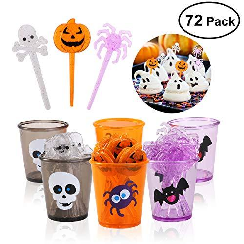 PBPBOX Halloween Food Picks Set Cupcake Topper Decorative (72 Picks + 6 Cups) Party Supplies and Decorations