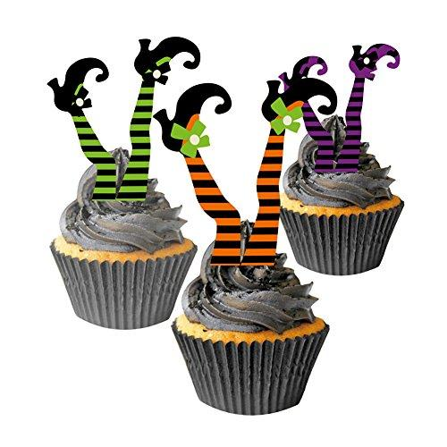 Halloween Witchs Boot Paper Cupcake Toppers Decorations Kit SUNBEAUTY
