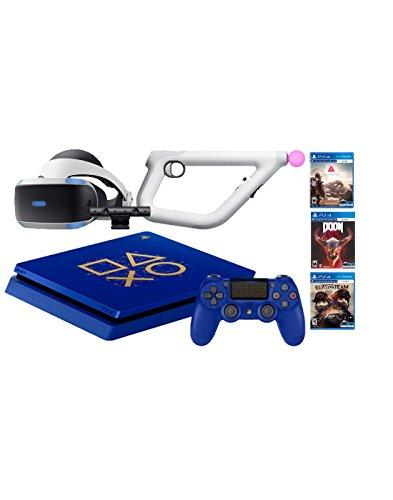 Playstation 4 Days of Play PSVR FPS Shooter Bundle: Playstation 4 1TB Days of Play Limited Edition Console, PSVR Headset, Playstation Camera, Aim Controller, Bravo Team, Doom VFR and Farpoint