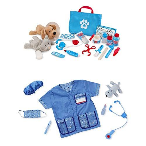 Bundle Includes 2 Items - Melissa & Doug Veterinarian Role Play Costume Dress-Up Set 9 pcs and Melissa & Doug Examine and Treat Pet Vet Play Set 24 pcs