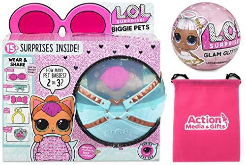 LOL Surprise Biggie Pet Bundle Includes (1) Neon Kitty + (1) Limited Edition Glitter Glam + Bonus Action Media Storage Bag!
