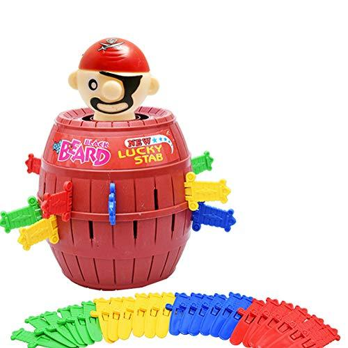 Naisidier Pirate Barrel Game Toy Funny Pirate Barrel Novelty Toy Bucket Lucky Stab Toys Game for Adult Kids Party Game (L)