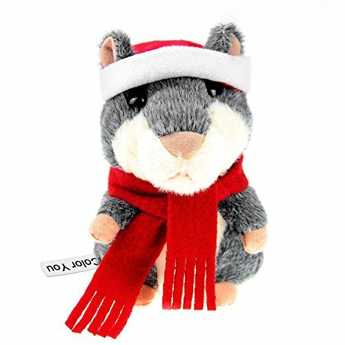 Color You Talking Hamster in Christmas Suit Repeats What You Say Electronic Pet Talking Plush Buddy Mouse Kids, 3 x 5.5 inches