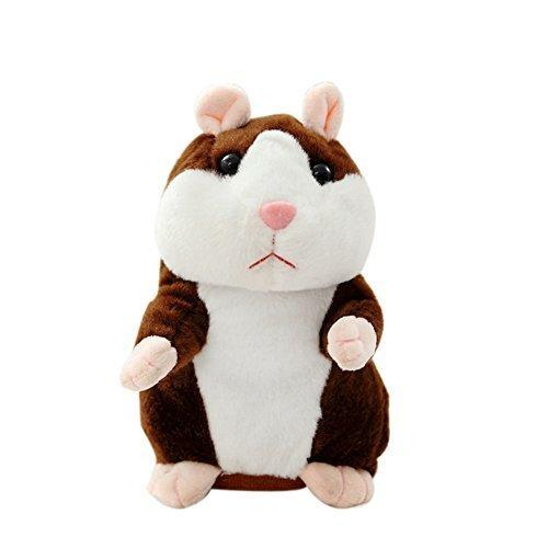 YOOMUN Talking Hamster Repeats What You Say Electronic Pet Talking Plush Buddy Mouse for Kids-Electronic Pet Talking Record Plush Toys Educational Toy for Children Gift (dark brown)