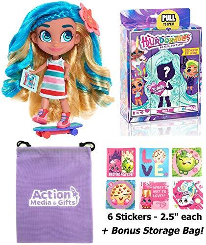 Hairdorables Dolls Gift Bundle - (1) Collectible Series 1 Surprise Doll (Styles May Vary) + (6) Shopkins Stickers + BONUS Action Media Storage Bag!