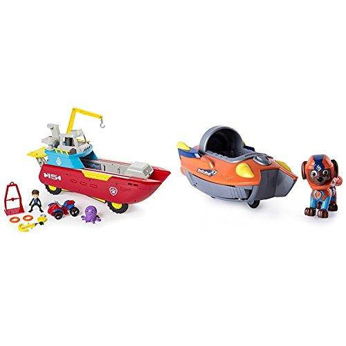 Paw Patrol Sea Patroller Transforming Vehicle with Lights and Sounds with Paw Patrol Zumas Transforming Sea Patrol Vehicle Bundle