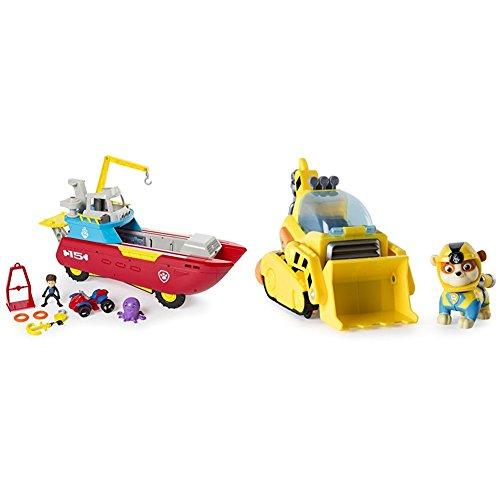 Paw Patrol Sea Patroller Transforming Vehicle with Lights and Sounds with Paw Patrol Rubbles Transforming Sea Patrol Vehicle Bundle