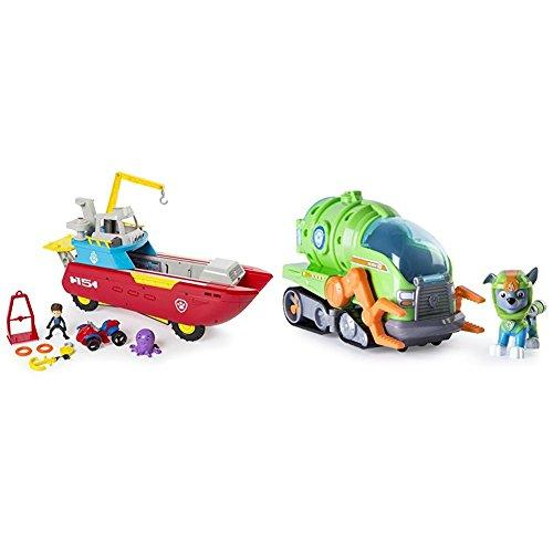 Paw Patrol Sea Patroller Transforming Vehicle with Lights and Sounds with Paw Patrol Rockys Transforming Sea Patrol Vehicle Bundle