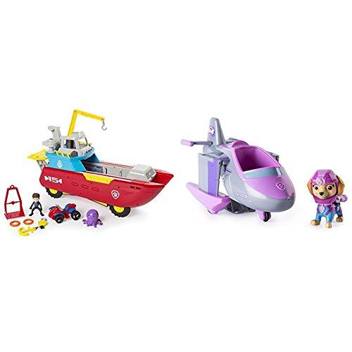 Paw Patrol Sea Patroller Transforming Vehicle with Lights and Sounds with Paw Patrol Skyes Transforming Sea Patrol Vehicle Bundle