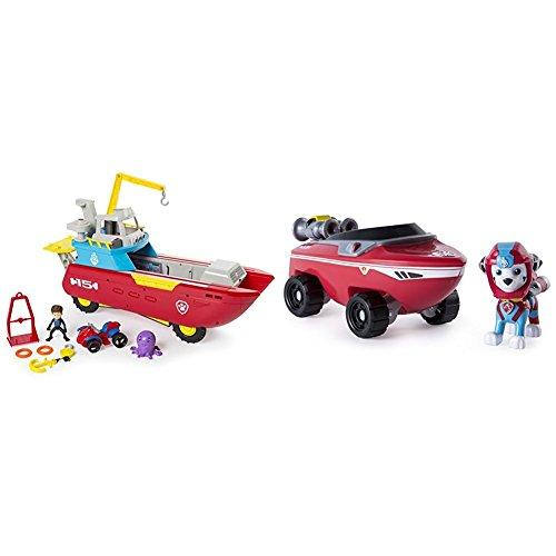 Paw Patrol Sea Patroller Transforming Vehicle with Lights and Sounds with Paw Patrol Marshalls Transforming Sea Patrol Vehicle Bundle