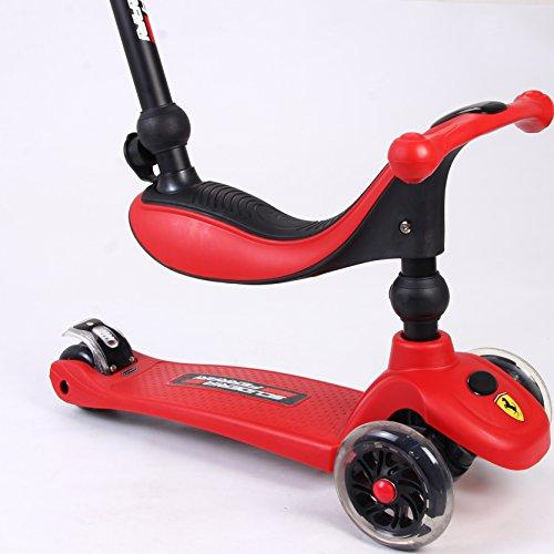 Ferrari 3 in 1 Twist Scooter with Led Light Wheels, Red