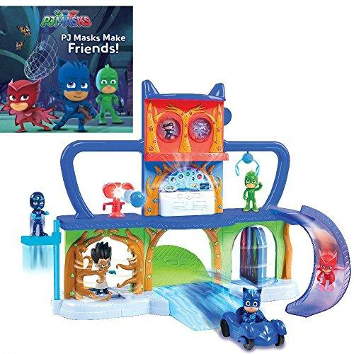 PJ Masks Make Friends! Paperback Book & PJ Masks Headquarters Track Playset Play Set Bundle Gift Set for Kids for Birthdays, Holidays and Special Occassions