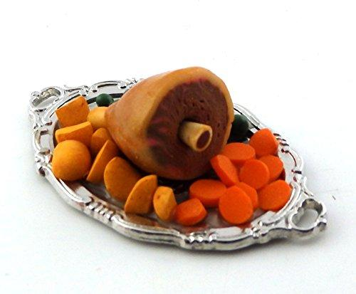 Melody Jane Dolls Houses Roast Dinner Welsh Leg of Lamb & Trimmings on Serving Tray Miniature