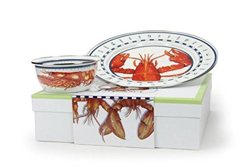 Enamelware, Lobster Collection, Dip Set, 2-piece giftboxed set includes 12.5 inch Charger & 3 cup Salad Bowl, 13.5 x 13.5 x 4 inch gift box